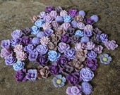 Store CLOSING SALE 8mm-12mm Purple Variety Resin Flower Assortment Qty 75 Rose, Mum, Orchid, Violet