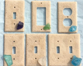 Beach Glass Key West Beach Sand Switchplate Outlet Double Triple Quad Rocker Blank Cable Dimmer