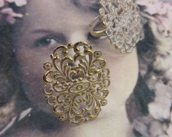 Gold Plated Frosted White Patina  Brass Filigree Adjustable Rings 953WHTx2