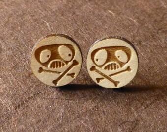 Silly Skull Wooden Earrings
