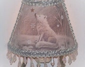 NEW Woodland Wolf Winter NIGHT LIGHT Snow Forest Animals Shade Lighting with Icicle Clear Beaded Fringe