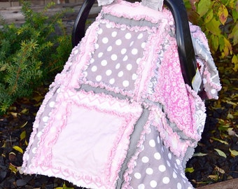 Baby Rag Quilt Car Seat Canopy - Gray / Light Pink Baby Girl Carseat Cover - Pink Carseat Canopy - Girl Car Seat Cover - Baby Carrier Cover