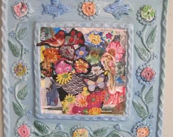 flowers & birds-- Primitive Folk Art - Mixed Media / Fabric Assemblage Collage  -- myBonny random scraps
