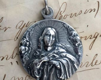 Virgin Mary with Angels Medal - Antique Reproduction