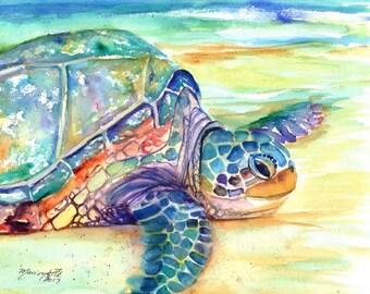 Sea Turtle Fine Art Print 8x10,  Kauai Art, Turtles, Hawaiian Honu Paintings, Childrens Wall Art, Ocean Sea Decor, Animal Prints, Beach Art