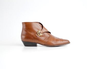 size 8.5 N | Vintage Etienne Aigner Leather Ankle Boots | Brown Leather Monk Strap Booties | 39