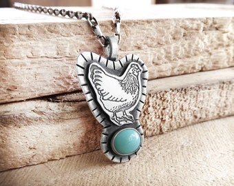 Chicken necklace, sterling silver and turquoise hen necklace, chicken jewelry, backyard chicken, Kingman turquoise necklace