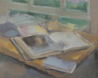 art books and an open window- original painting