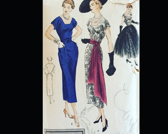 Vintage 50s Vogue Special Design Square Neckline Swanky Cocktail Dress Sewing Pattern S-4997 B32