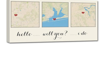 Gifts for Him or Her Cotton Anniversary Gift Custom Map Art using Three Locations, map heart, couple Geezees Canvas Personalized Wedding