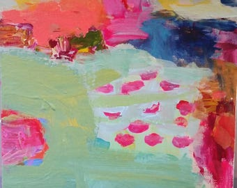 Pink fish, abstract modern, expressionism, aqua