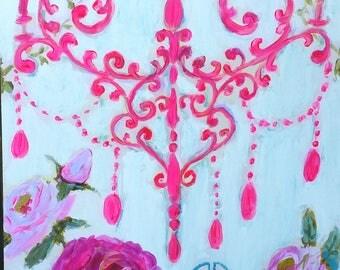 Chandelier , roses, pink, aqua, bohemian