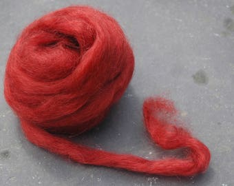 Hand Dyed Hand Combed Pure Wensleydale Tops  Dark Rust Red, Red Ochre  50 grams