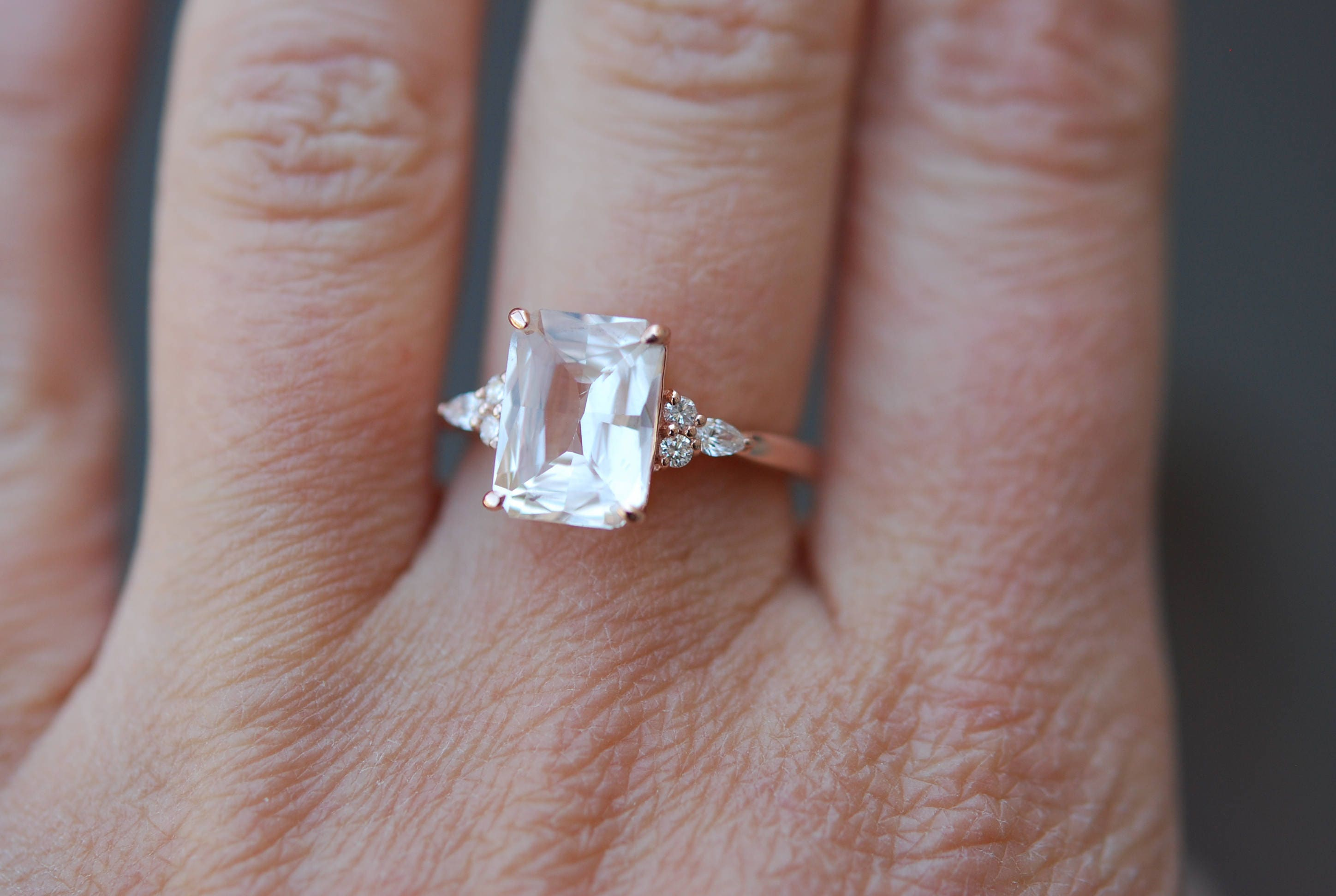 Engagement Ring Rose gold engagement ring Champagne Sapphire ring