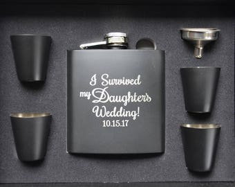 Wedding Flask, I Survived My Daughter's/Son's Wedding Personalized Engraved Keepsake Flask, Father of the Bride/Groom Gift