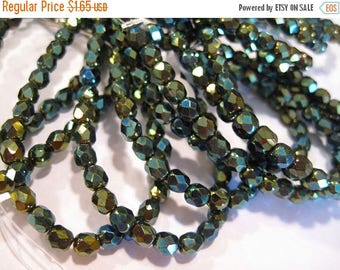 ON SALE Crystals 6mm Green Iris Czech Glass Fire polished Crystal Beads