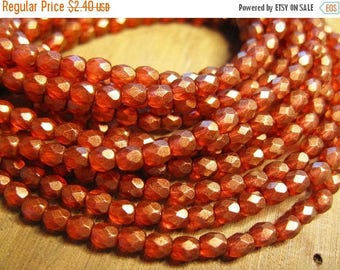 ON SALE Marsala with Gold Matte Finish Czech Glass Fire polished Crystal Beads 4mm