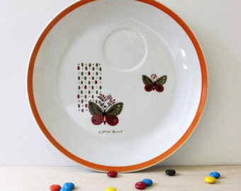Butterflies. Vintage 1970s Georges Briard snack plate.