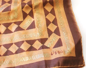 Orange and Gold. Vintage 1950s early Vera silk scarf.