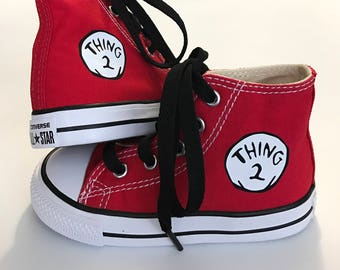 Thing 2 Personalized Custom  High Top  Converse  - Infant and Kids Cat in the Hat