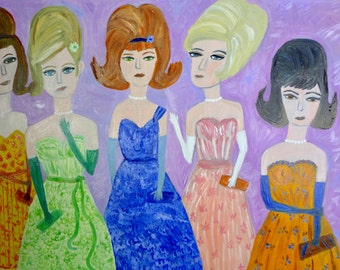 Big haired beauties from Beaumont. Original oil painting by Vivienne Strauss.