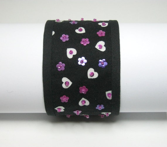 FABRIC CUFF BRACELET: Hearts and flowers.  Medium to large. Handmade by Procione.