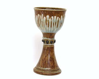 Large Stoneware Pottery Chalice with Textured Studded Design in Hues of Brown & Blue