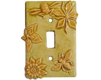 Honeybees Ceramic Light Switch Cover- Single Toggle in Apritot Gold Glaze Color