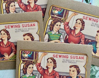 Sewing Susan Needle Card Set Quilting Retro Fifties 50s Housewife Seamstress Sew 4 Large Greeting Cards