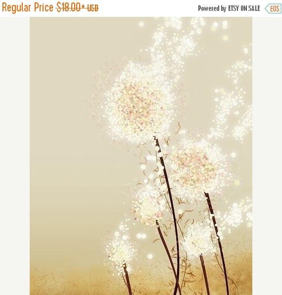 Mothers Day Sale Dandelion Art - Perennial Moment (gold) - 8x10 Print - Modern Flowers Home Decor