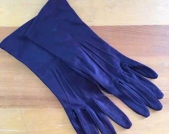 Vintage Shalimar Eggplant Purple Nylon Wrist Gloves, Size Small