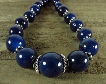 Dark Blue Onyx Necklace, Onyx & Sterling Silver Choker, Graduating Blue Onyx Necklace