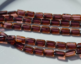 Amethyst Picasso 12x8mm Rectangle Czech Glass Beads 12