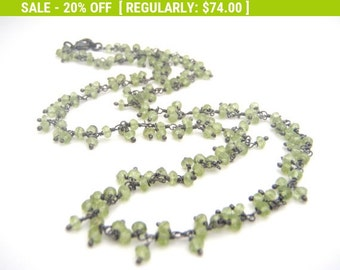 20% Off Sale Peridot Strand Necklace, Rosary Style, Oxidized Sterling Silver, Apple Green, Black, August Birthstone