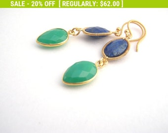 20% Off Sale Lapis Lazuli And Green Onyx Earrings, Royal Blue, Kelly Green, Gold, Dangle Earrings