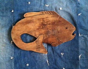 Vintage Hand Carved Fish Cutting Board
