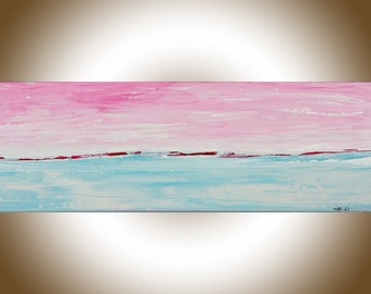 Pink blue painting abstract landscape painting original artwork painting on canvas office wall art wall Decor wall hanging by qiqigallery