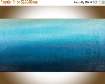 """Abstract painting blue art Original artwork large wall art wall decor painting on canvas home decor mixed """"The Mist"""" by qiqigallery"""