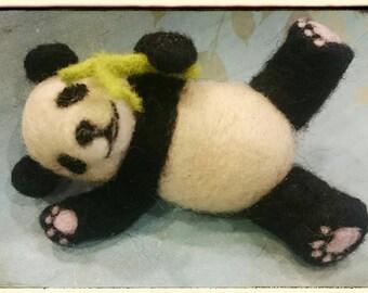 Needle felted playful panda bear