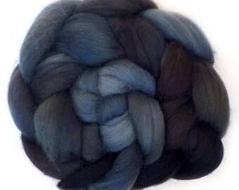 Superfine Merino Cashmere Silk Roving Custom Blend, Dark Shadows, 2.7 oz.