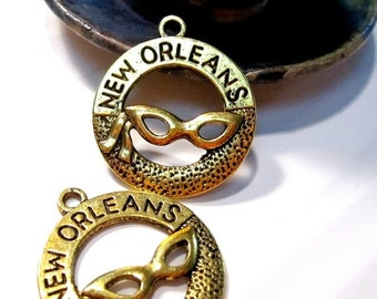 50% Off Off 10 New Orleans Mardi Gras Charms in Antique Gold 28x25mm with top loop C1073 H16