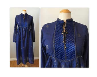 Vintage 70s Semi sheer Gauze Dress XS S Hand Print Gold on Blue NOS