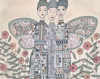 Each Others Angels Art Print, Angels, Guardian, Journey, Whimsical, Wall Art
