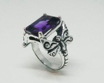 Dragonfly Gemstone Ring - Rich, Deep Amethyst Purple Gemstone Dragonfly Ring - February Birthstone - Purple Dragonfly Ring