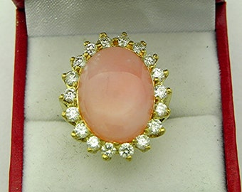 AAAA Pink Opal 18 x 18mm 5.78 carats From Peru in 18K yellow gold Diamond halo ring with 1.75 carats of Diamonds 1355