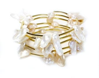 Clearance Sale White mother of pearl blister gold memory wire spiral bracelet