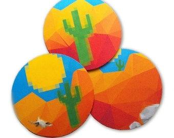 "Hot Desert Cactus, Drink Coaster Set - Drink Coasters 3.5"""