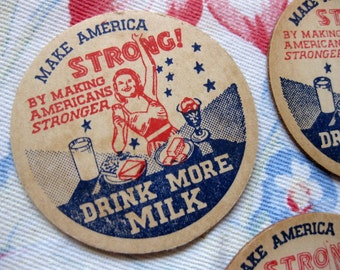 Vintage Rare War Time Milk Bottle Caps (4), Make America Strong, Woman with Dairy Products, Stars, Dairy Ephemera