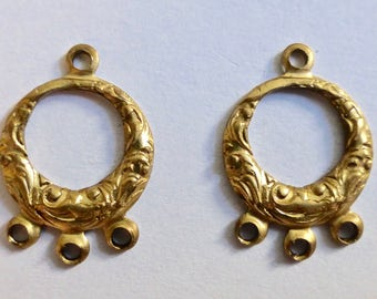 Vintage Antique Gold Plated Earring Drops 3:1   17x12mm  (4)