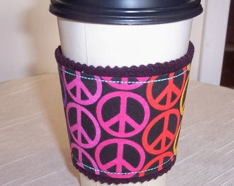 Peace, Love, and Understanding Cup Cozy With Wool Lining